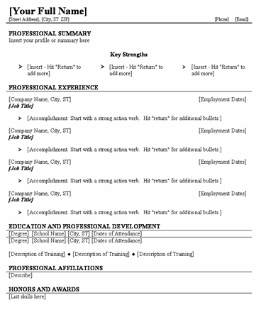 easy fill in resume template