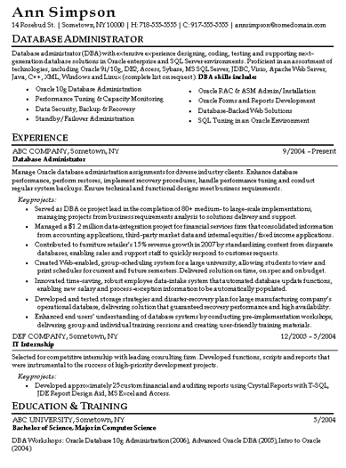 oracle database administrator resumes | Template