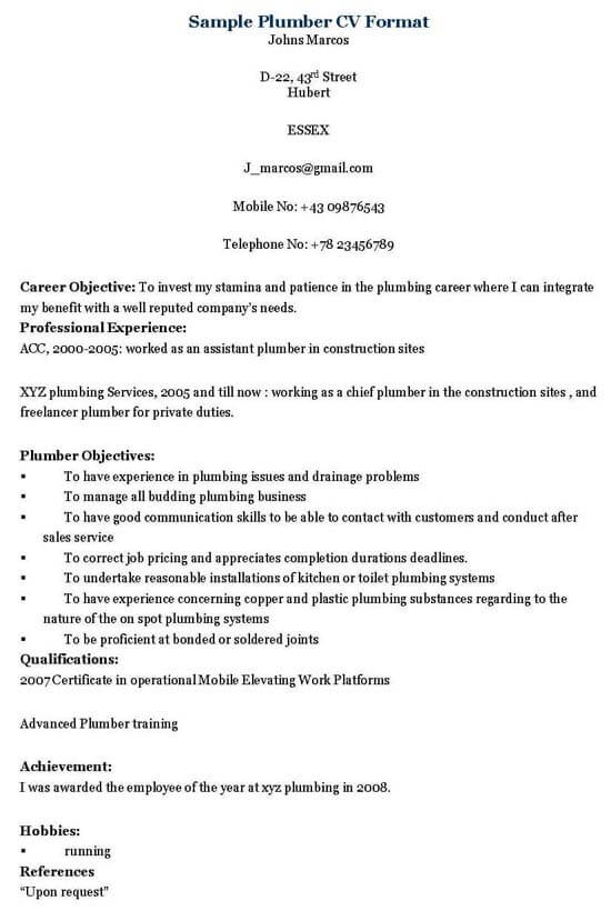 Plumbing Resume Sample - Resume Sample