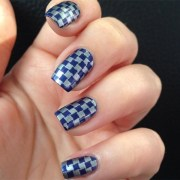 beautiful checkered nail art