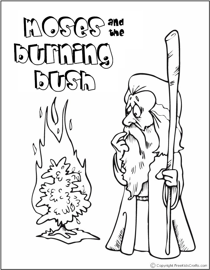 708 908 Pixel, Burning Bush Coloring Page, Moses And The