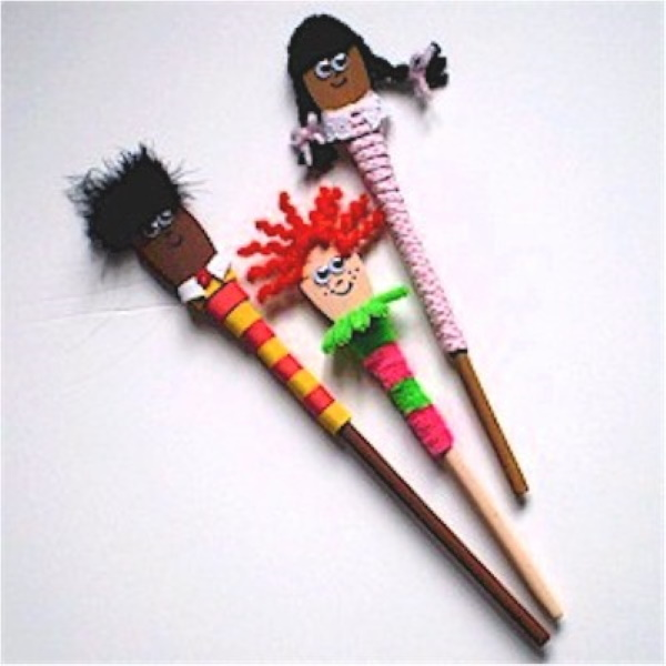 Puppets made from wooden spoons.