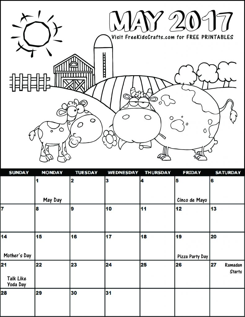 Image of 2017 May Coloring Calendar