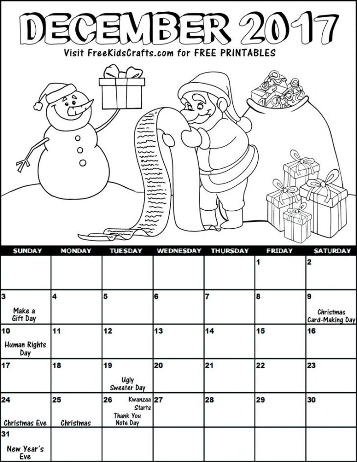 Kids 2017 Printable December Coloring Calendar