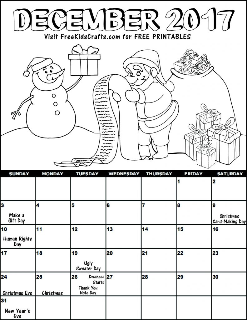 Image of Kids 2017 Printable December Coloring Calendar