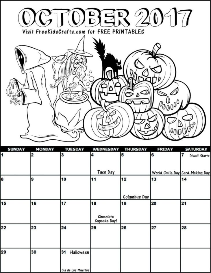 2017 October Coloring Calendar