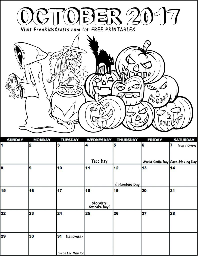 Printable 2017 October Coloring Calendar for Kids