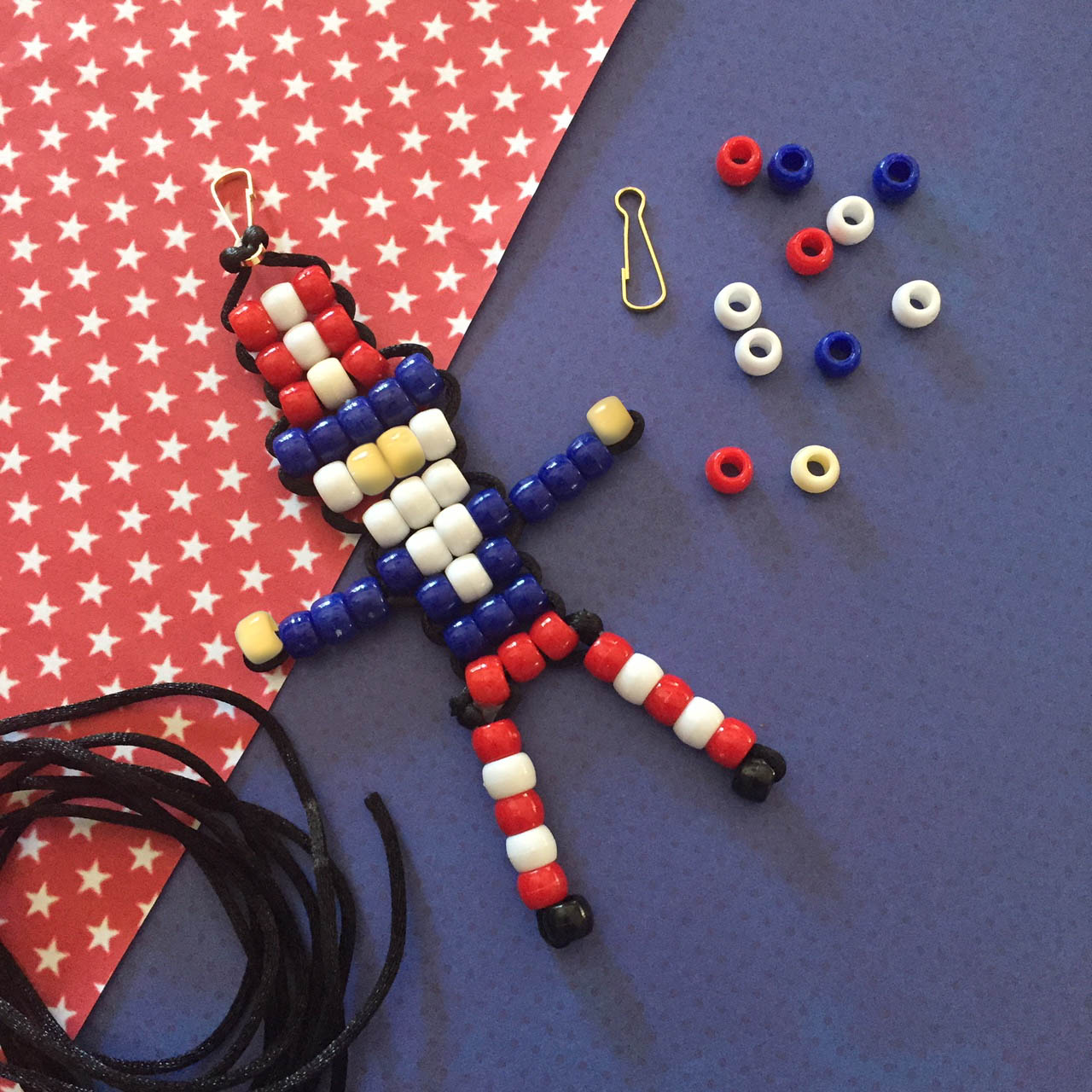 Red, white and blue beaded Uncle Sam.
