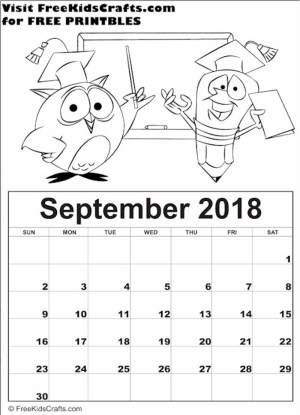 Image of 2018 Printable September Coloring Calendar