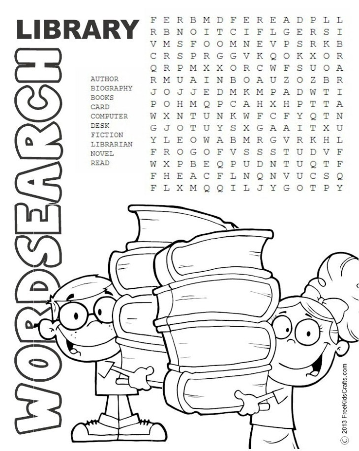 Printable Library Word Search