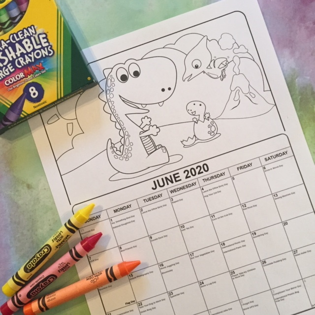 Printable June Coloring Calendar for young children