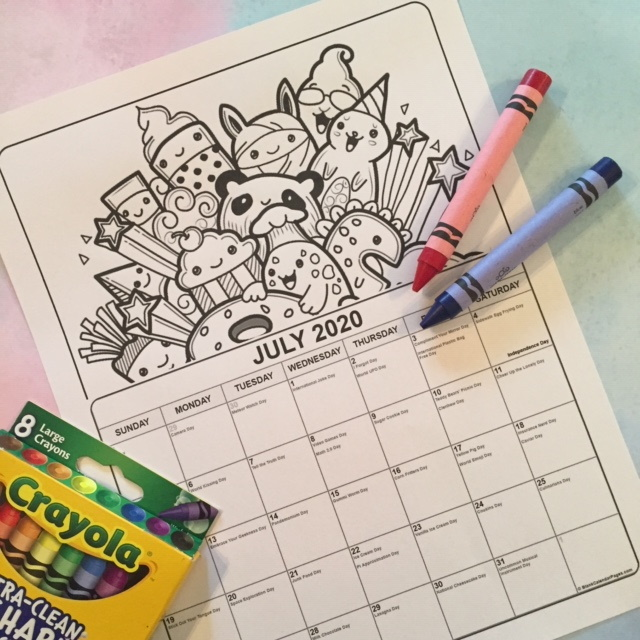 Printable July 2020 Coloring Calendar for kids