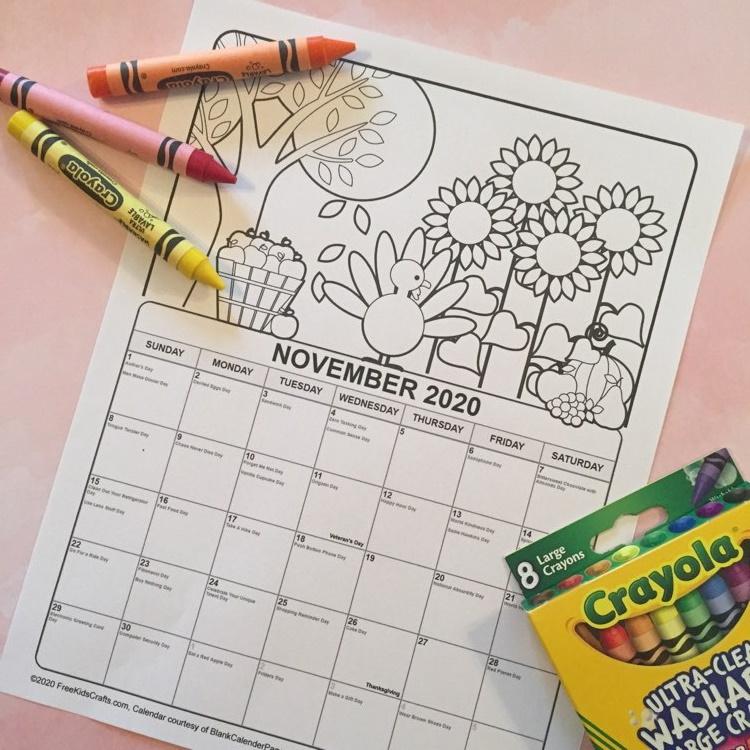 Free printable 2020 November coloring calendar