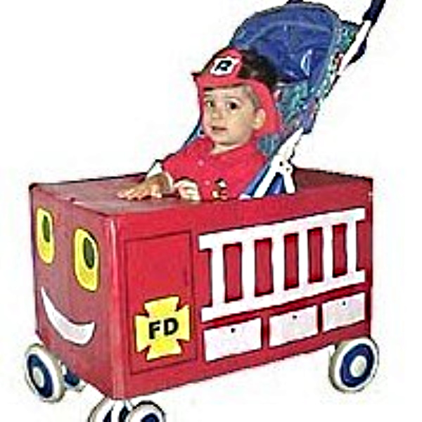 Fire truck made from recycled box to fit over a stroller