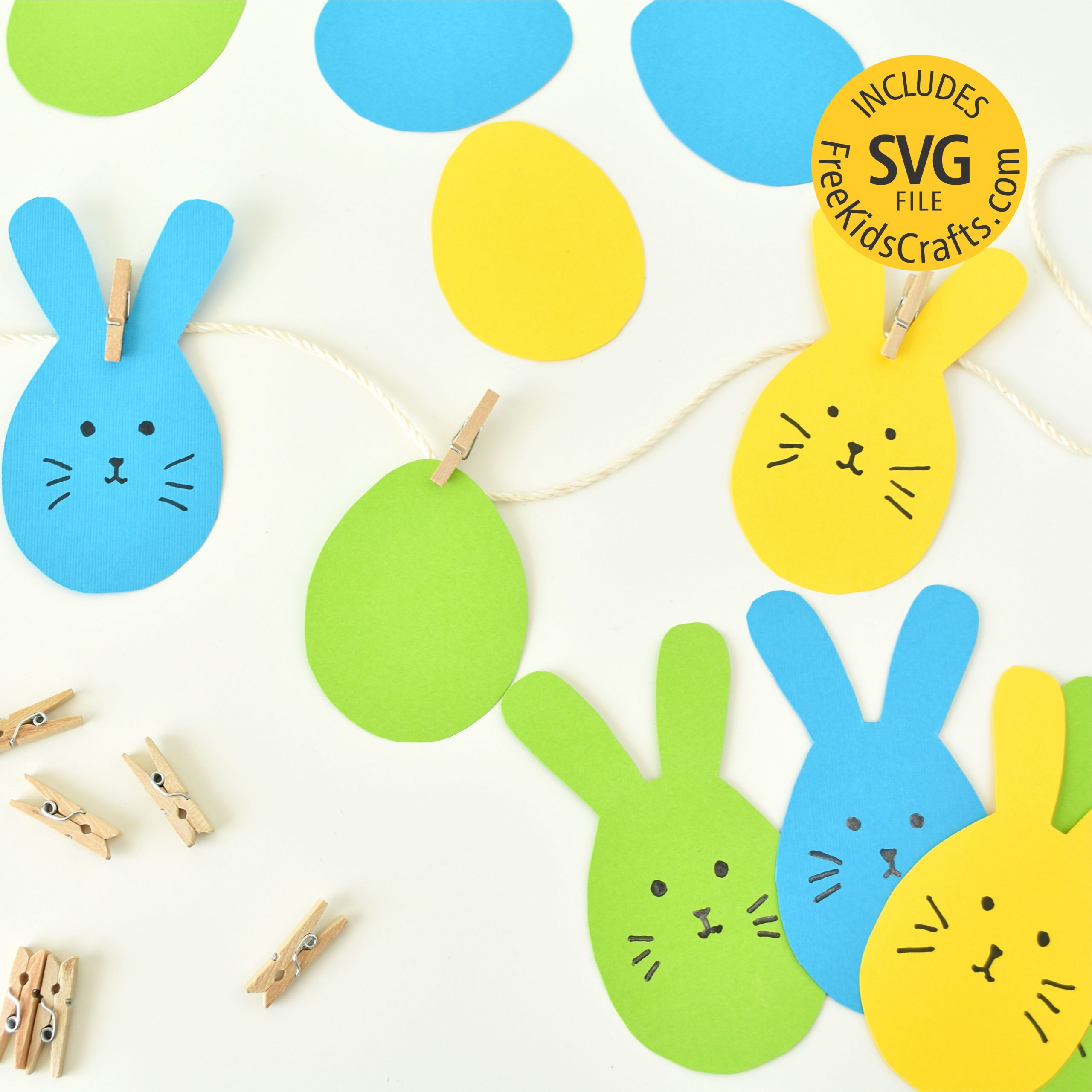 Rabbit and egg cut outs for kids to make Easter garlands.