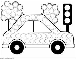 Image of Preschool Car Dot Art Activity