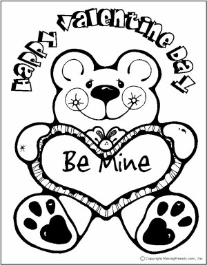 Printable Coloring Page with Bear Holding Valentine
