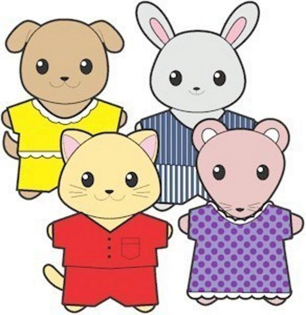 Image of Printable Pajama Buddies Paper Dolls