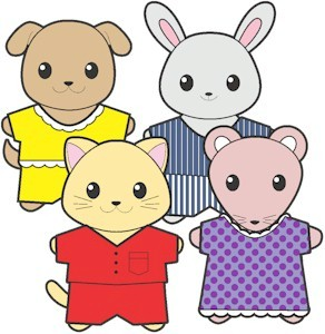 Printable Pajama Buddies Paper Dolls