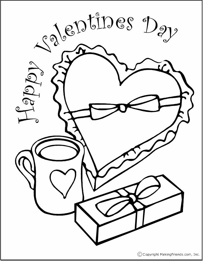 Valentine Coloring Page with Cup and Box