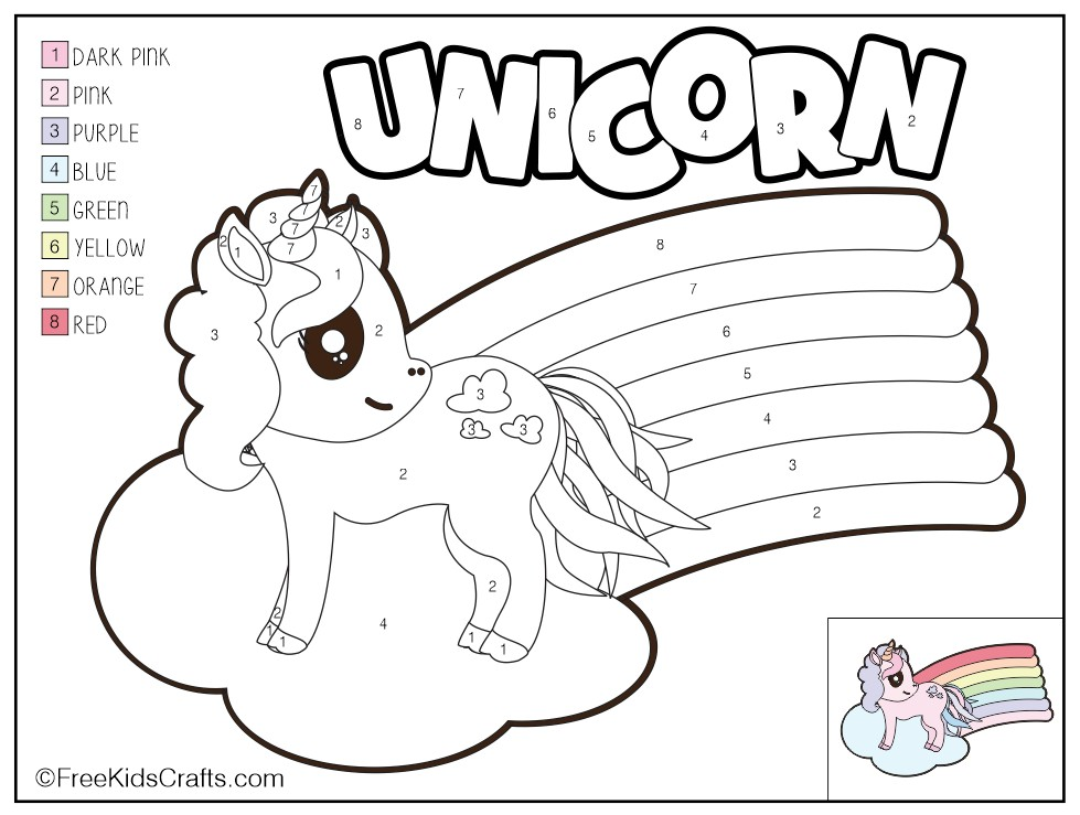 color-by-number-unicorn-printable - Free Kids Crafts