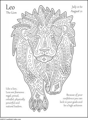 Image of August Zodiac Coloring Page (Leo)