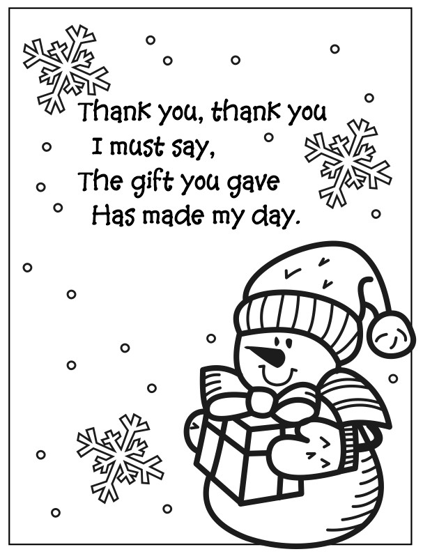 Snowman Coloring Page Thank You Poem