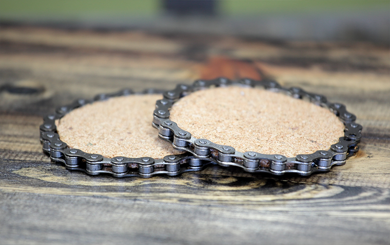 Image of Cork And Bike Chain Coaster For Dad