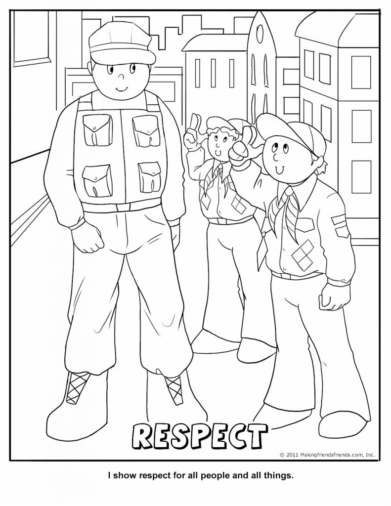 Cub Scout Coloring Page Respect Free Kids Crafts