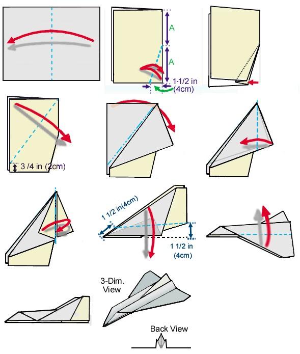 diagram space shuttle paper airplane 08 free kids crafts rh freekidscrafts com how to make paper plane diagrams awesome paper plane diagrams