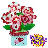 Image of Printable Paper Hearts and  Flowers  Bouquet
