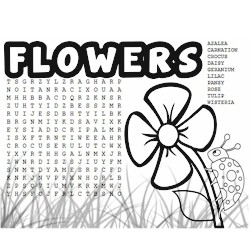 Image of Flower Word Search and Coloring Page