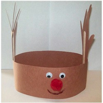 Easy Handprint Reindeer Hat for Kids to Make