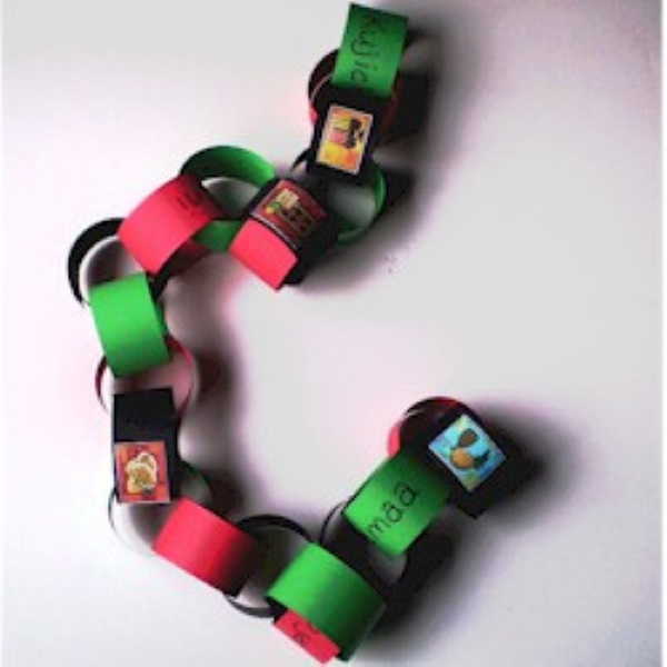 Easy to make paper chain with printable Kwanzaa symbols