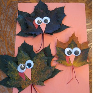 Make Turkeys From Maple Leaves