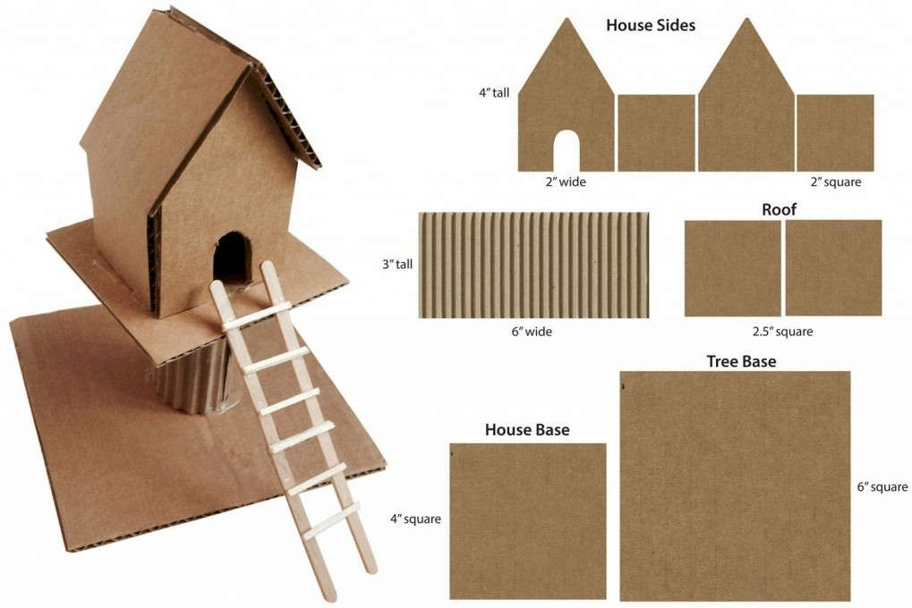 Mineature Cardboard Treehouse Diagram Free Kids Crafts