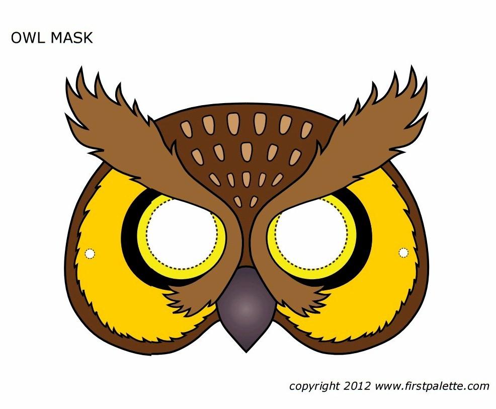 graphic regarding Printable Mask titled Printable Owl Mask
