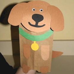 Image of Paper Bag Dog Puppet