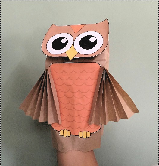 Image of Paper Bag Owl Puppet