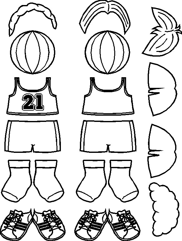 Playtime Paper Doll Basketball Players