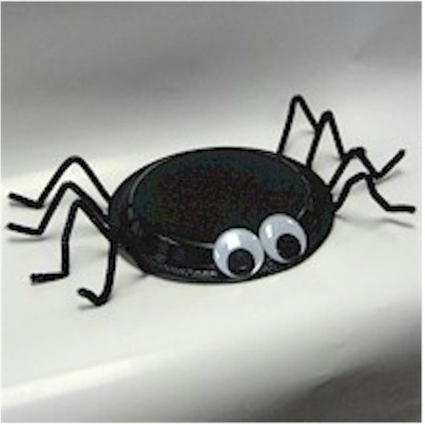 Spider made with black paper plate and pipe cleaners