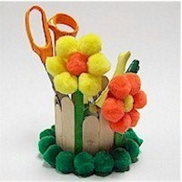 Image of DIY Pom Pom Flowered Desk Caddy
