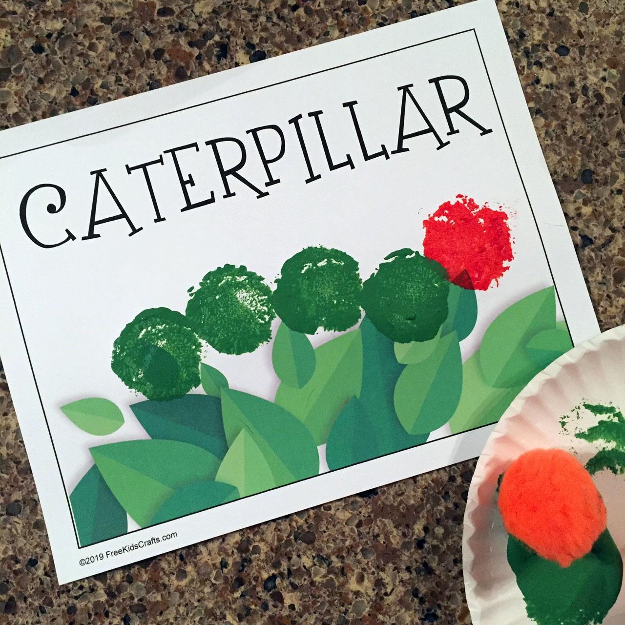 Easy pompom caterpillar craft for preschoolers