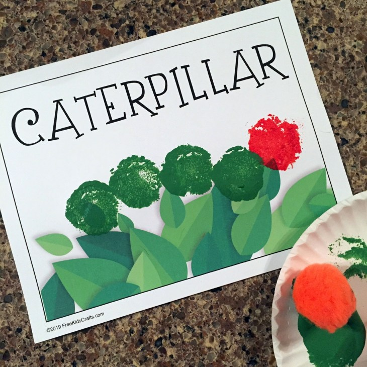 Preschool Pom Pom Stamping Caterpillar Craft
