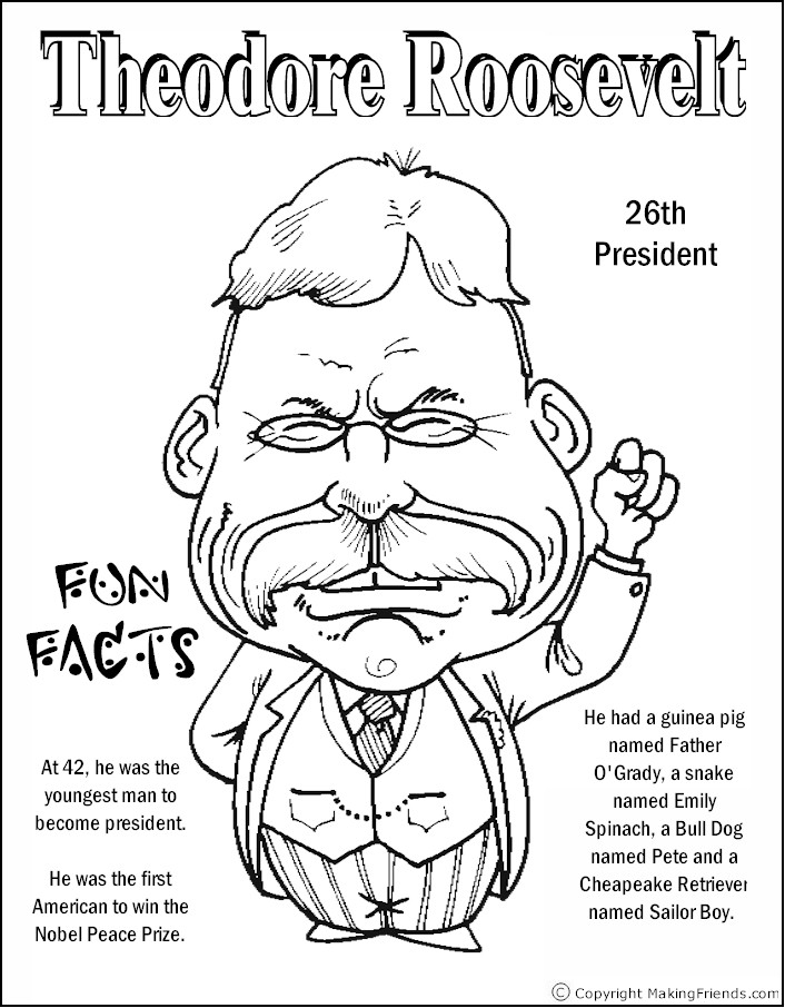 President Roosevelt Coloring Page Free Kids Crafts