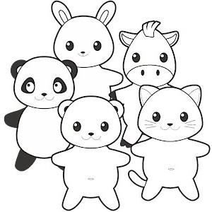 photo regarding Free Printable Paper Dolls Black and White referred to as Printable Friend Animals Paper Dolls Black White