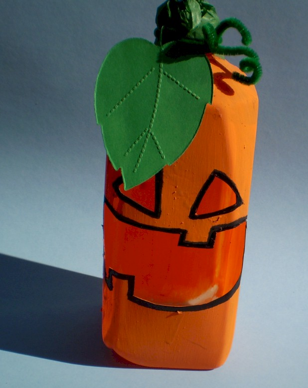 Image of Recycled Milk Jug Pumpkin Candy Holder