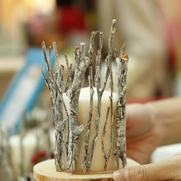 Image of Rustic Silver Twig Candle