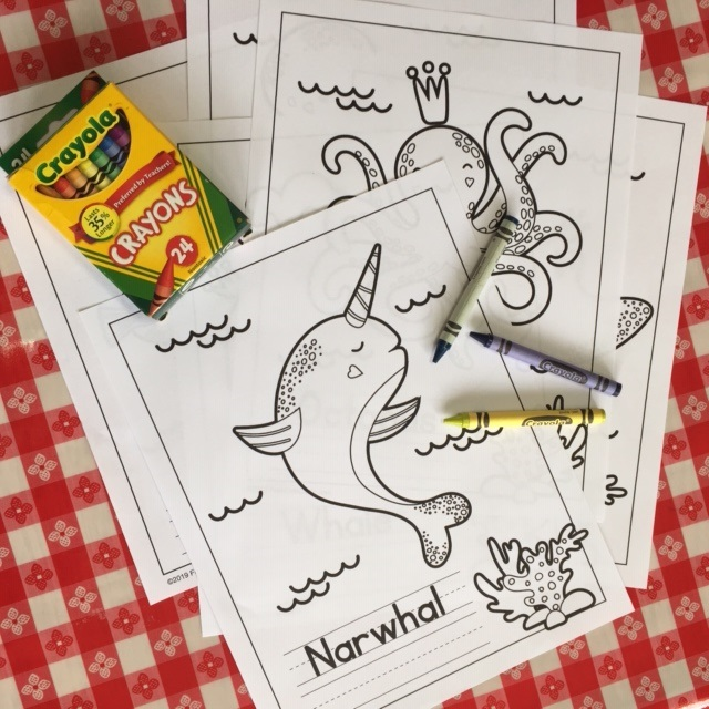 Narwhal Coloring Page Plus 5 More Sea Life Coloring Pages
