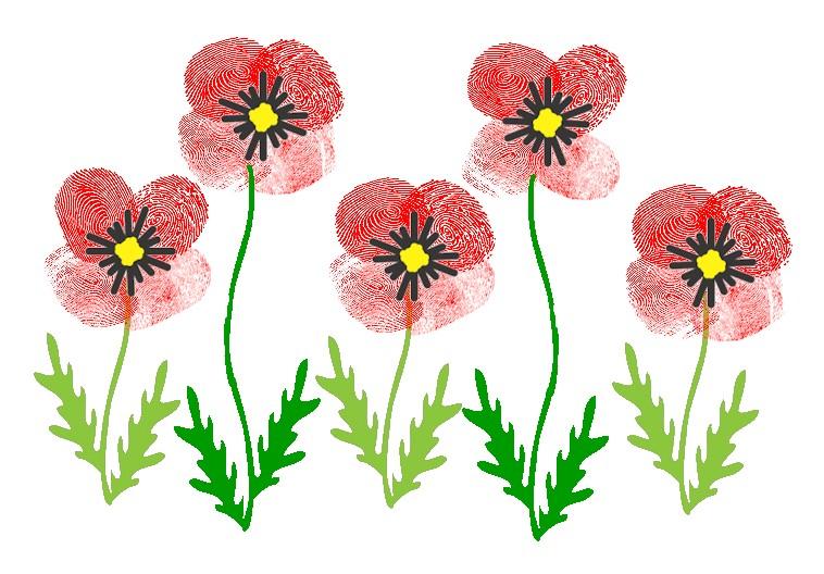veteran's day thumbprint poppies